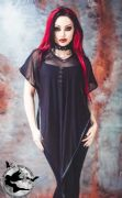 NECESSARY EVIL Yemoja Black Net Gothic Poncho Top | Ladies Gothic Alternative Clothing